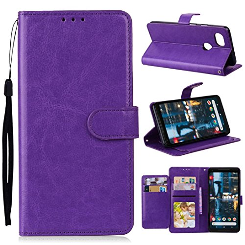 Price comparison product image Mchoice For Google Pixel 2 XL Case Luxury Leather Magnetic Flip Card Case Stand Cover (Purple)
