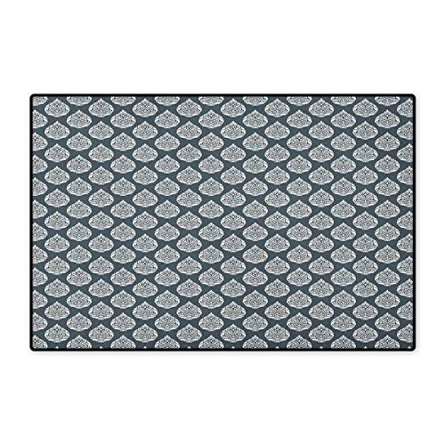 Damask,Door Mat Small Rug,Royal Renaissance Influences in Antique Style Pattern with Repeating Motifs,Floor Mat for Kids,Charcoal Grey White,Size,16