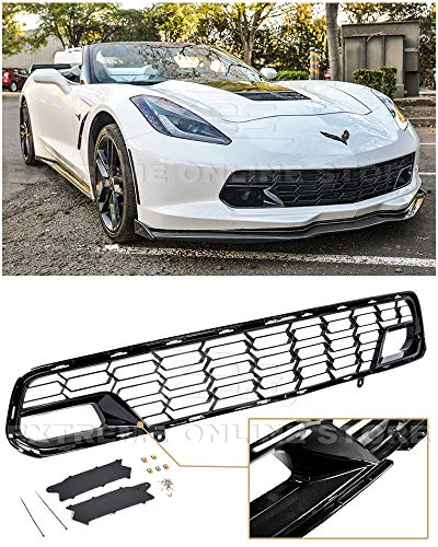 - Extreme Online Store Replacement for 2014-2019 Chevrolet Corvette C7 All Models | EOS Factory Z06 Style Painted Carbon Flash Metallic Front Bumper Lower Grille Cover (Without Front Camera Bracket)