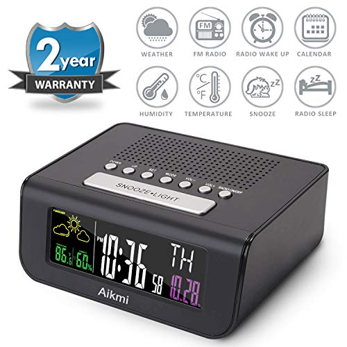 Alarm Clock Radio Color Screen - Digital Clock for Bedroom with Weather Forecast Dual Alarm Snooze Battery Backup FM Radio Sleep Timer 4'' LCD Display Date Indoor Temperature and Humidity (Black)