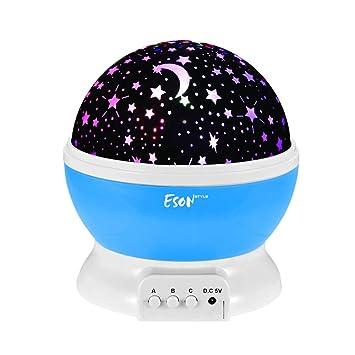 Recargable de 360 Grados Luz nocturna Giratoria Lámpara Proyector ...