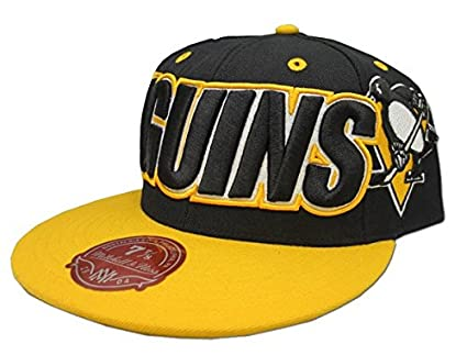 official photos fa62d d5a7a Pittsburgh Penguins NHL Mitchell   Ness Black Gold Fitted Hat - 7