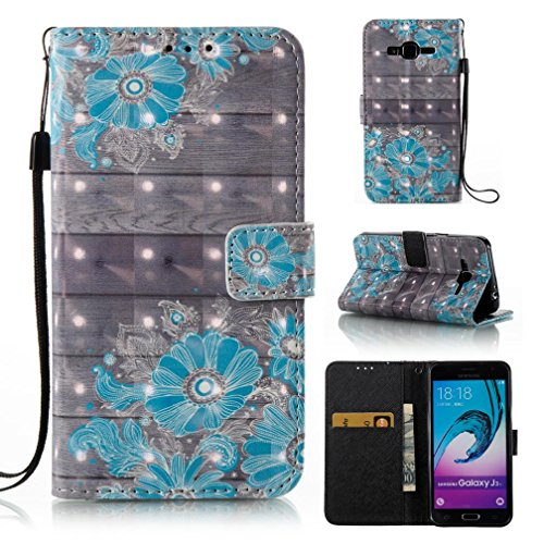 Galaxy J3/J310 case,FlREFlSH Protective Detachable Premium Credit Cards Holder Synthetic Leather Shell Folio Card Slots Case 3D Painted Wrist Strap Wallet Cover for Samsung Galaxy J3/J310-Blue Flower
