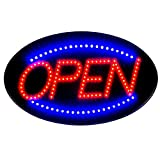 Led Neon Open Signs Decor for Business Mart Shop Store Bar Cafe Now Open Sign Display On/Off Switch + Chain (19'' Lx 10''W(Oval ''Open''))