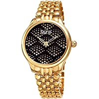 Burgi Stainless Steel Women's Watch – Sparkling Dial Swarovski Crystals in Beautiful Fan Pattern –Gold Tone Chain Link Bracelet Band - BUR205BKYGB