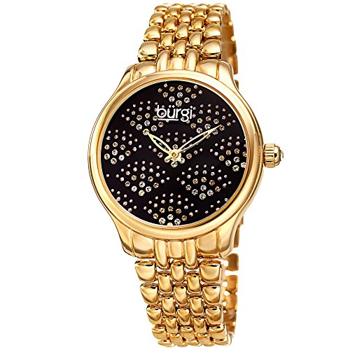 Crystal Gold Links Color Watch (Burgi Stainless Steel Women's Watch – Sparkling Dial Swarovski Crystals in Beautiful Fan Pattern –Gold Tone Chain Link Bracelet Band - BUR205BKYGB)