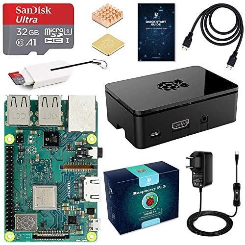 chollos oferta descuentos barato LABISTS Raspberry Pi 3 B Starter Kit con Micro SD de 32GB Clase 10 5V 3A Adaptador de Corriente con Interruptor 2 Radiadores Cable HDMI Caja de Calidad Lector de Tarjetas Caja Negra