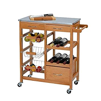 Mesa auxiliar con ruedas y estantes para cocina (base de trabajo de metal, 84 x 66 x 36 cm): Amazon.es: Hogar