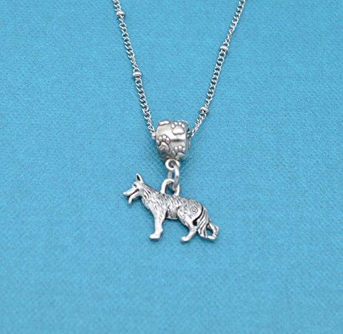 German Shepherd in silver pewter Charm Necklace. German shepherd necklace. German Shepherd charm. German Shepherd Jewelry. ()