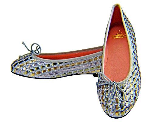 Fille Étape Emma Femmes Ballerine Chaussures Plates Simil Argent