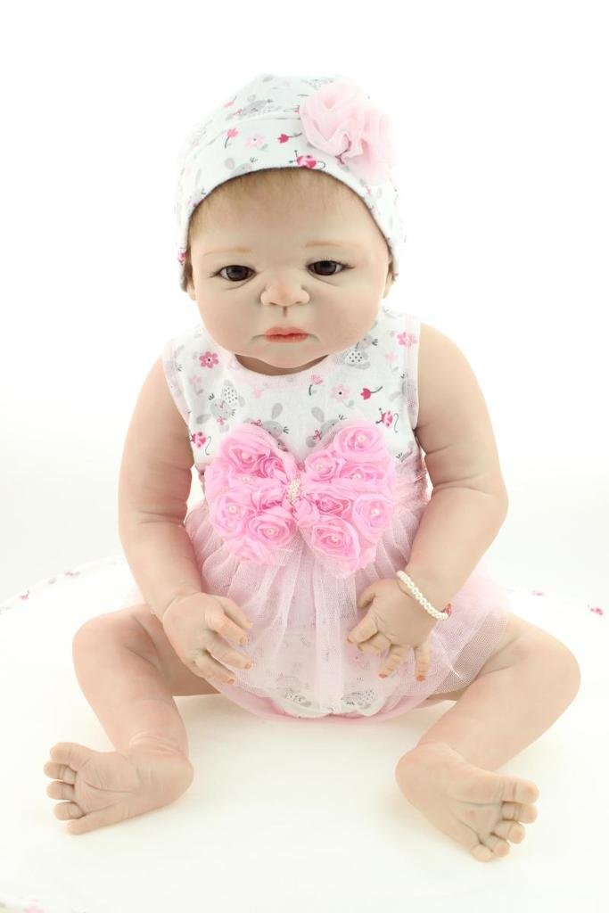 diseñador en linea NPKDOLL 22inch renacer de la muñeca muñeca muñeca de Silicona Duro Simulación de Vinilo 55cm Vestido de la Flor magnética Boca Realista Lindo Impermeable niños de Juguete Rosado con acrílico Ojos Reborn Doll A1ES  Garantía 100% de ajuste