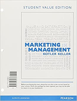 kotler keller marketing exam questions edition 14 Marketing management, 14e (kotler/keller) chapter 1 defining marketing for the 21st century 1) which of the following statements about marketing is true a) it is of little importance when products are standardized.