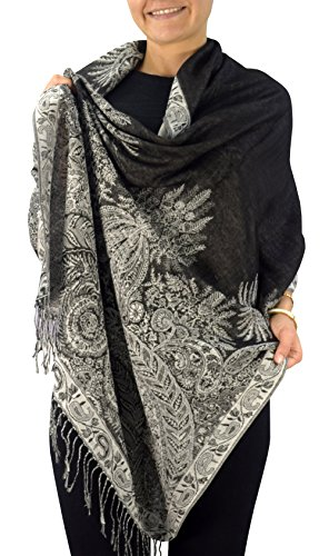 Peach Couture Soft Vintage Persian Paisley Printed Solid Pashmina Shawl Scarf (27' X 72', Black White)