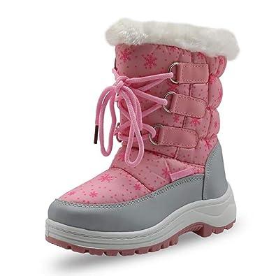 cbdc64c055f5f snofiy スノーブーツ ジュニア 女の子 ブーツ キッズ 可愛い 長靴 ボア 保温 防水 スキー 雪遊び 冬