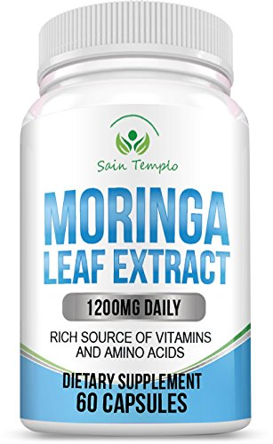 Pure Organic Moringa Leaf Powder 1200 Mg One Mean Herbal Daily Multivitamin Supplement - Best Gift 4 Woman With Lots of Benefits. Packed With Iron, Calcium, Vitamin C, Protein, Potassium & Vitamin A.