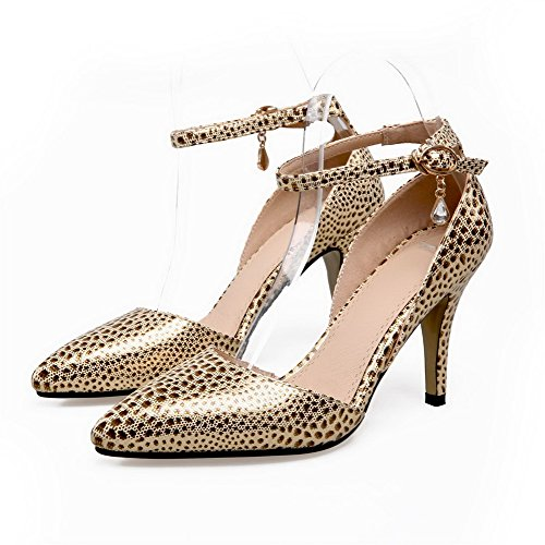 High Color AmoonyFashion Toe Blend Assorted Gold Heels Womens Closed Materials Buckle Sandals II487qw
