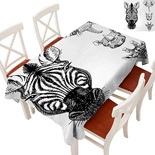WinfreyDecor Elegance Engineered Christmas Tablecloth Patterns Tablecloths for Kitchen Sketch of Zebra Giraffe Elephant and Rhino Heads African Wildlife Animal Zoo Image Black White 54