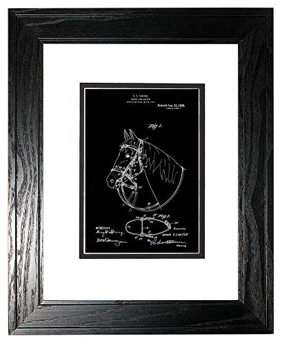 - Horse Bridle and Halter Patent Art Black Matte Print in a Black Pine Wood Frame with a Double Mat (18