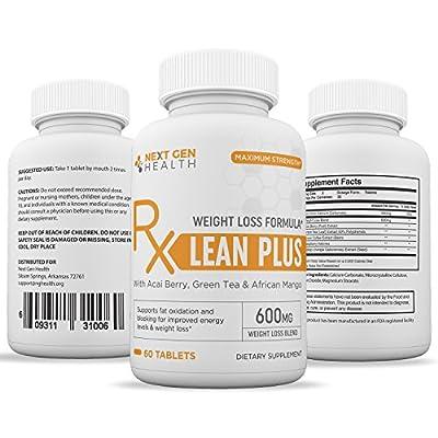 Lean Plus Weight Loss Pills for Women Men - Effective Natural Fat Burner & Appetite Suppressant - Carb Blocker with Green Coffee Bean, Açaí Palm, Green Tea Leaf, and African Mango - 60 Caplets