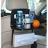 Multipurpose Car Backseat Tray By Lebogner - Back Seat Auto Food And Drink Table Organizer, Fold Down Snack Holder For Vehicle Seat, Multi-Functional Portable Foldable Tray