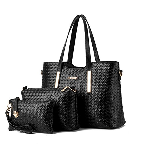 Hardware Tote Handbag - XMLZG Women's Pu Leather Weave Handbag 3 Pieces Tote Bag Set Large Capacity Shoulder Purse Crossbody Bag Black