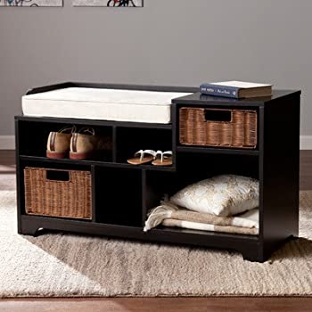 Darby Home Co Conde Upholstered Storage Entryway Bench, Black, Caramel And  Ivory