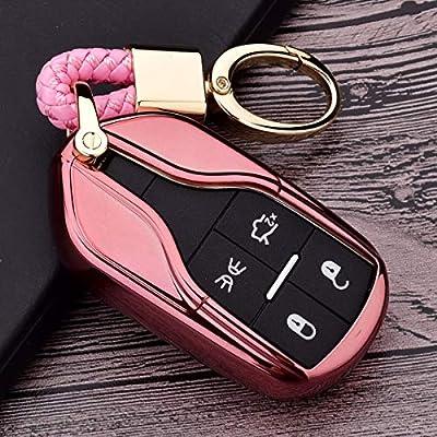 Royalfox(TM Luxury Soft TPU Smart 4 Buttons Key Fob case Cover for Maserati Levante GT Quattroporte Ghibli (Rose Gold): Electronics