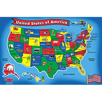 Amazoncom Melissa Doug USA Map Floor Puzzle Pcs X - Us map of states game