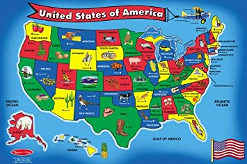 Amazoncom Melissa Doug USA Map Floor Puzzle Pcs X - Us map game puzzle