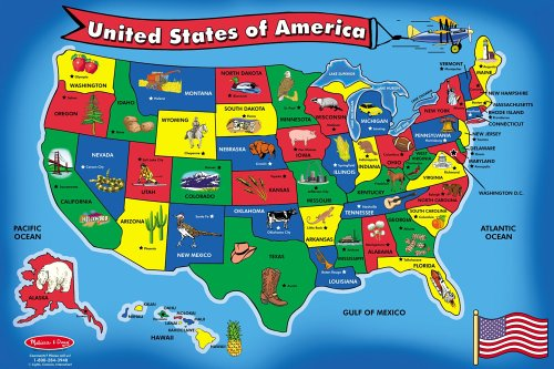 Melissa & Doug USA Map Floor Puzzle (51 pcs, 2 x 3 - State Garden Is State What