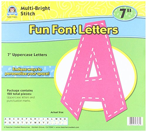 "Teacher Created Resources Multi Bright Stitch 7"" Fun Font Letters"