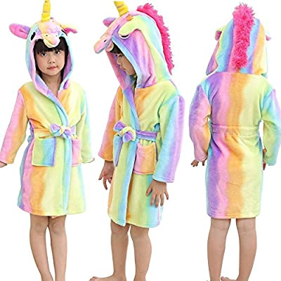 Admireme Kid's Unicorn Hooded Bathrobe Coral Fleece Sleepwear Comfy Sleep Robe for Boys and Girls Spa Party Birthday