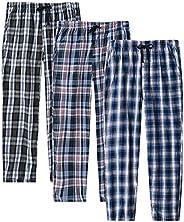 JINSHI Men's Pajama Pants Plaid Pajama Bottoms Sleepwear with Poc
