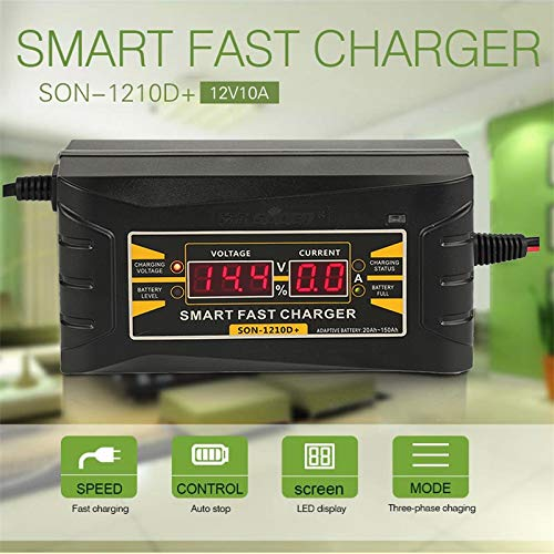 Genuine 12V10A Lead Acid/GEL Full Automatic Smart Car Motorcycle Battery Charger LCD Display EU/US Plug Auto Accessories Charger