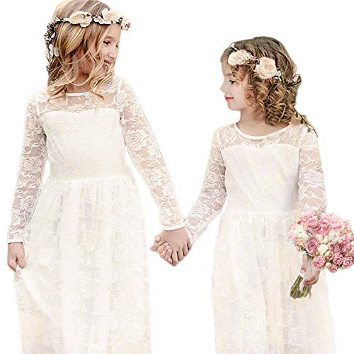 CQDY Ivory Lace Dress for Girls Party Dress with Big Bow Long Sleeved Tulle (Ivory, -