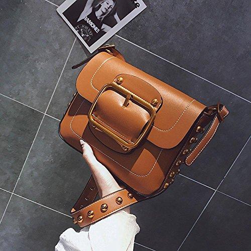 Aoligei Mode pour Rivet petit sac féminin version coréenne Fashion centaines épaule unique personnalité simple croix oblique marée pack D