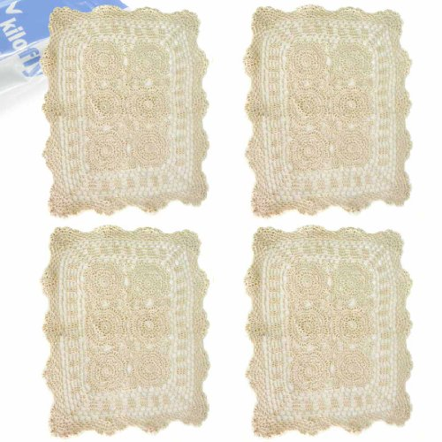 - kilofly Handmade Crochet Cotton Lace Table Placemats Doilies Value Pack [Set of 4], Beige