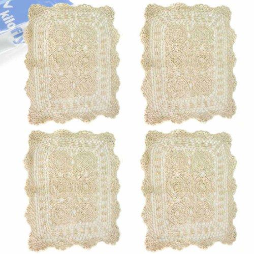 kilofly Handmade Crochet Cotton Lace Table Placemats Doilies Value Pack [Set of 4], Beige