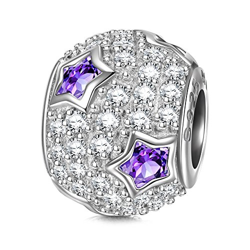 NINAQUEEN Star Pave 925 Sterling Silver Purple AAAA Cubic Zirconia Bead Charms Fit for Bracelet & Necklace