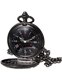 Black Pocket Watch Roman Pattern Steampunk Retro Vintage Quartz Roman Numerals Pocket Watch (Black1)