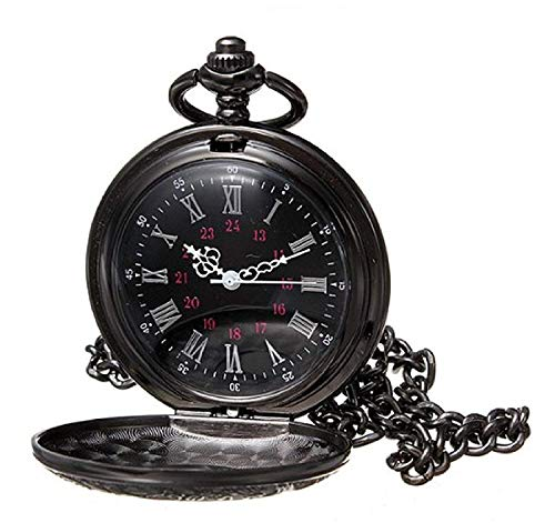 MJSCPHBJK Black Pocket Watch Roman Pattern Steampunk Retro Vintage Quartz Roman Numerals Pocket Watch (Black1) -