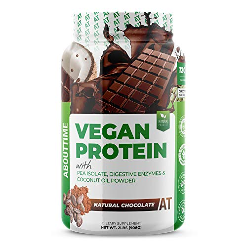 About Time Natural Vegan Protein Chocolate 2lb - 24 grams of Protein, Non-GMO, Plant Based, Gluten Free, Soy Free, Dairy Free, 32 Servings