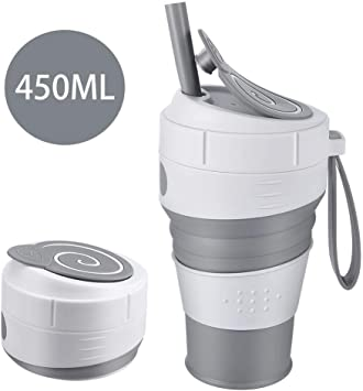 Umeweals Foldable Cup Drinking Cup with lid and Straws Silicone Collapsible Coffee Cup Portable Reusable Folding Cup for Travel Camping Hiking Home Office Exercise