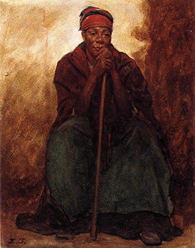 Art Prints on Canvas - 12 x 15 inch Impressionism Portraits, People - Dinah, Portrait of a Negress - by Eastman Johnson