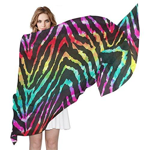 (Women's Scarf Silk Scarf Blanket Lightweight Scarves Fashion Neck Scarf Poncho with Colorful Zebra Skin Texture Shawl Wrap 70