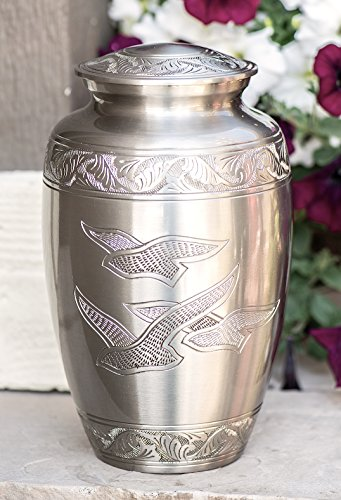 (Peaceful Freedom Silver Pewter Cremation Urn for Ashes/Funeral Urns by Glow Choice/Gift or Tribute Vase for Burial Memorial/Beautiful & Affordable)