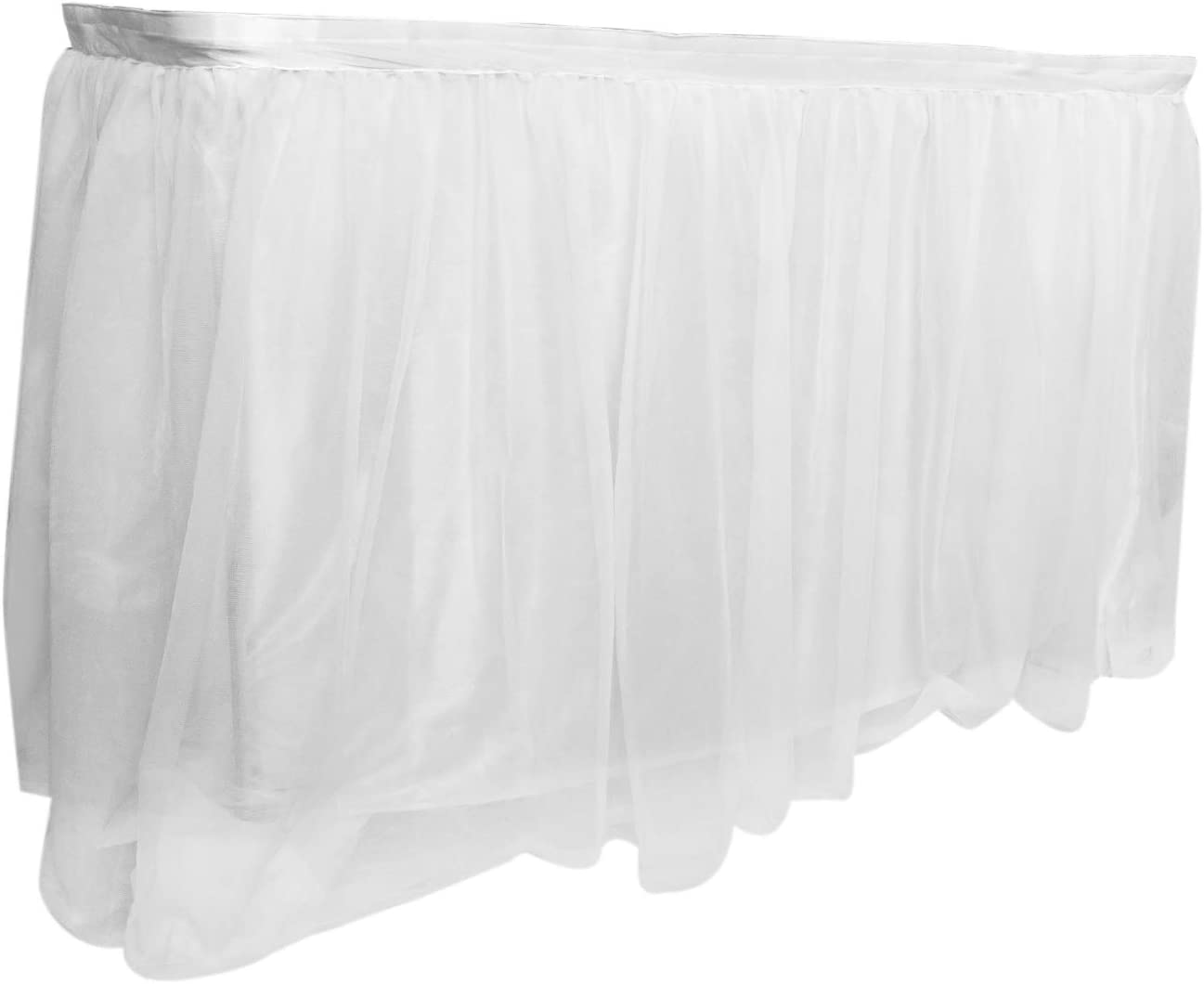 Royal Imports 9 ft White Tulle Table Skirt, Tulling Tablecloth for Wedding, Birthday Party, Bridal, Baby Shower, Home Decoration Skirting - Rectangle