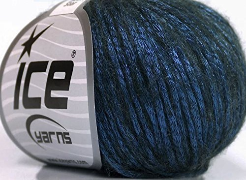 Rock Star, Blue, Black, Metallic Shine, Soft Nylon Merino Wool Acrylic Blend Yarn, 50 - Shine Yarn Worsted