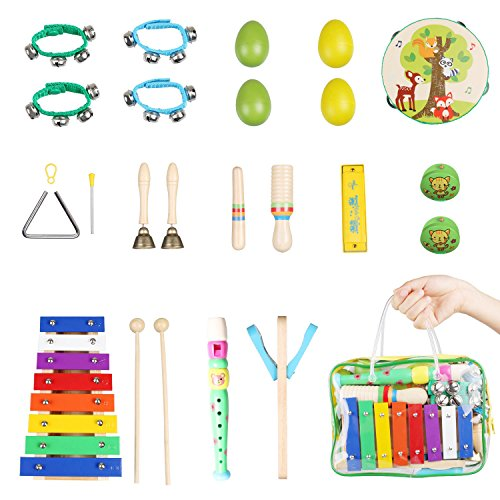 Musical Percussion Instruments (Kids Musical Instruments 20 PCS Toddler Baby Toys Percussion Toy Rhythm Band Set Wooden Percussion Musical Toys with Carrying Bag)