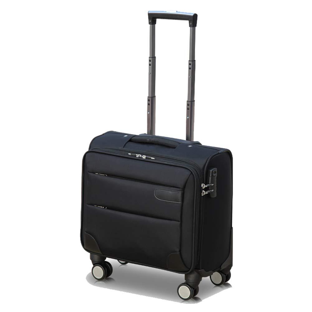トロリー荷物のスーツケースのラップトップコンパートメント16インチ、ビジネス荷物の車輪のトロリーオックスフォードの布 B07MY2TMQK Black 16inch